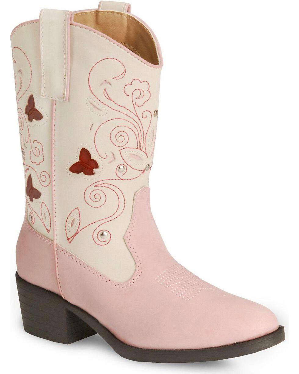 Roper Kid's Light Up Floral Western Boots, Pink, hi-res