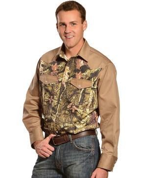 Gibson Trading Co. Camo and Khaki Long Sleeve Work Shirt, Khaki, hi-res