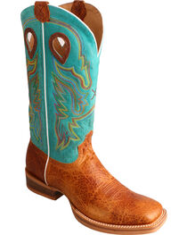 Twisted X Men's Embroidered Square Toe Western Boots, Cognac, hi-res