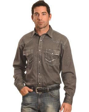 Crazy Cowboy Men's Grey Stitch Trim Western Snap Shirt , Grey, hi-res