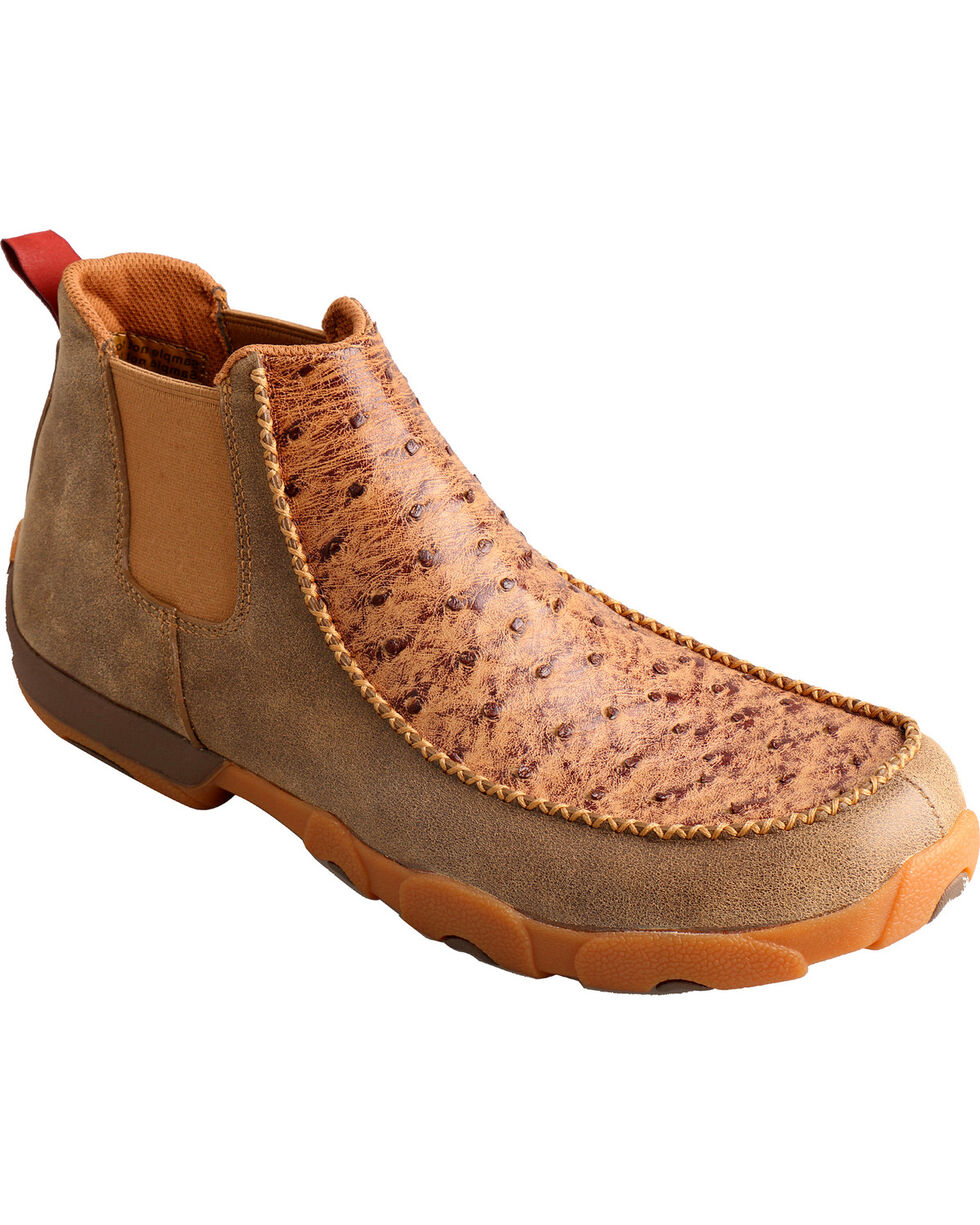 Twisted X Men's Ostrich Driving Moc Casual Shoes, Bomber, hi-res