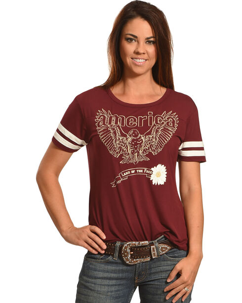 """Shyanne® Women's """"Land of the Free"""" T-Shirt, Burgundy, hi-res"""