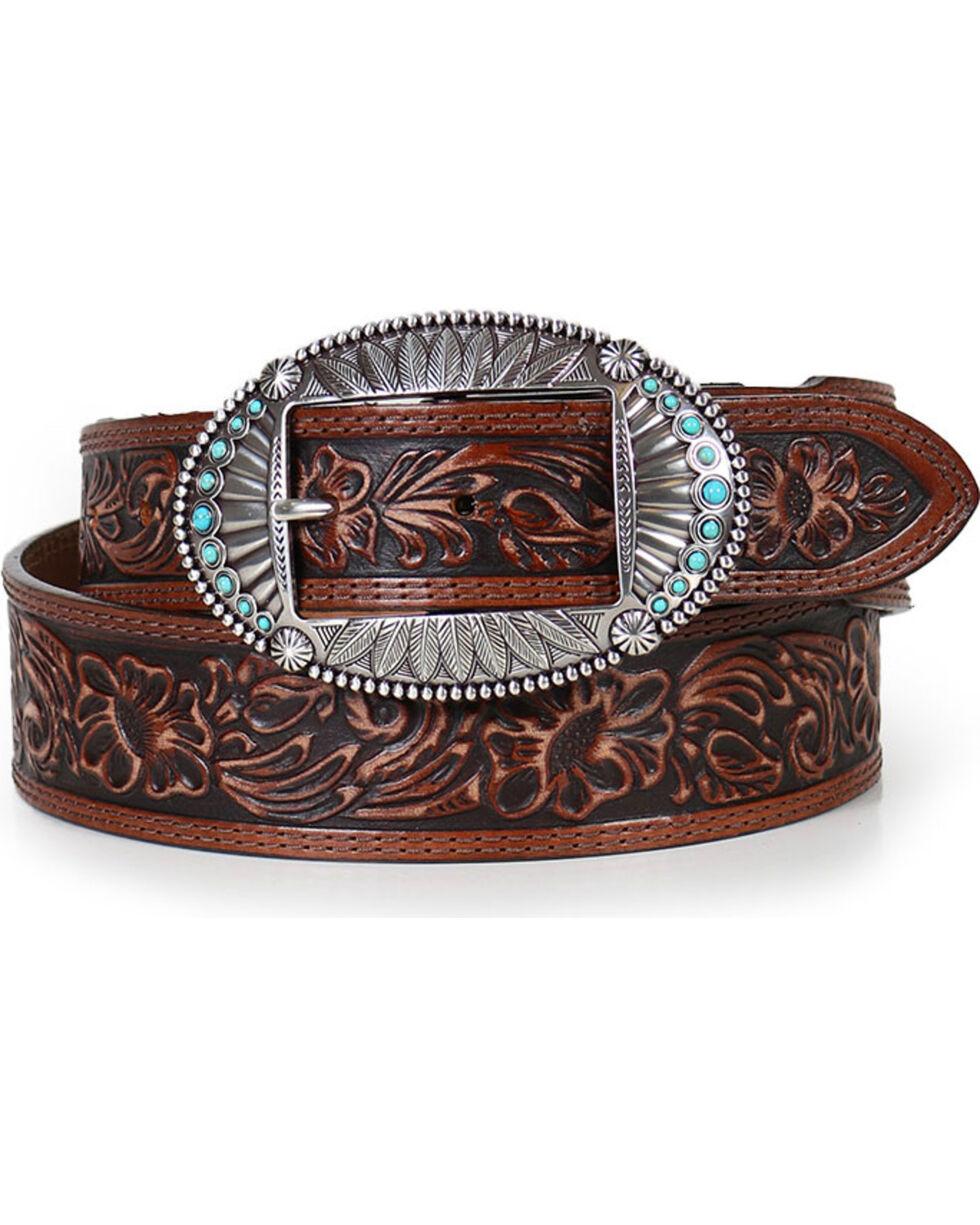 Justin Women's Filigree Concho Belt , Brown, hi-res