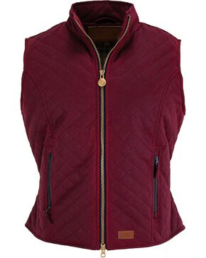 Outback Women's Oilskin Quilted Vest, Berry, hi-res