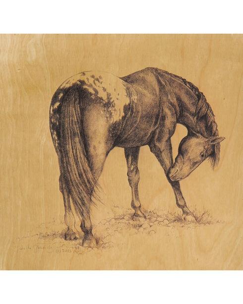 Evergreen Birch Wood Wild Horses Wall Art  - 4 Pieces, Tan, hi-res