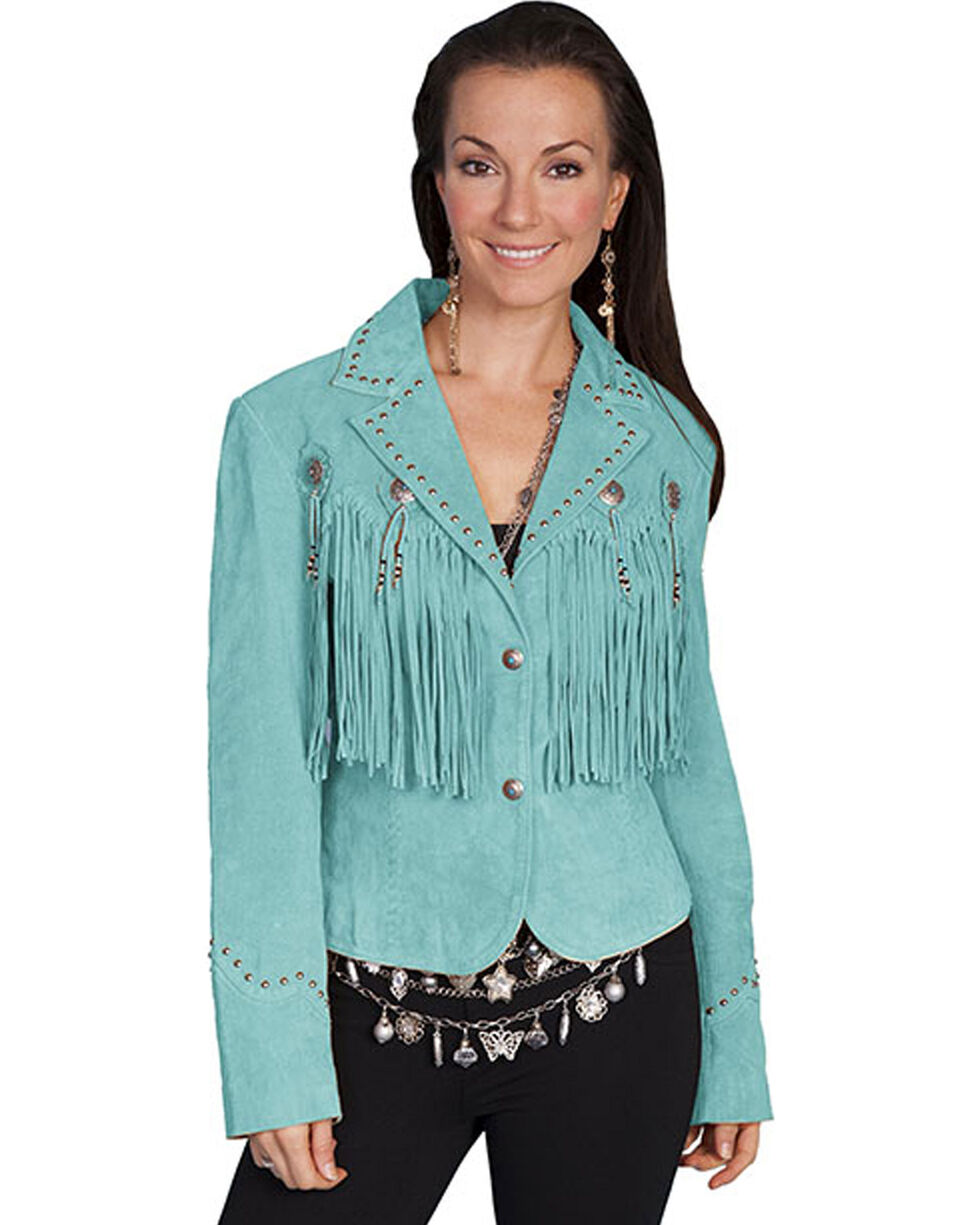 Scully Concho & Fringe Suede Leather Jacket, Turquoise, hi-res