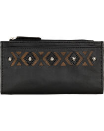 American West Women's Black Southwestern Foldover Snap Closure Wallet , , hi-res