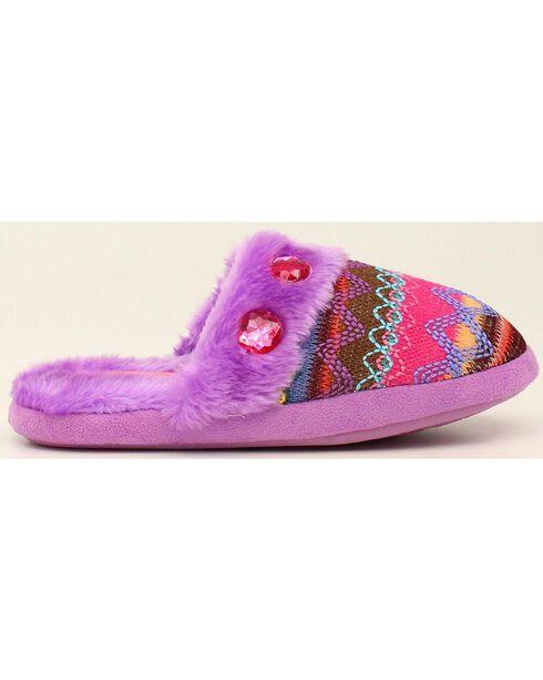 Blazin Roxx Colorful Woven Scuff Slippers, Purple, hi-res