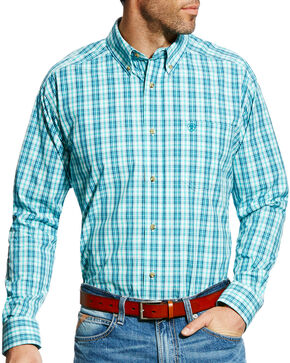 Ariat Men's Pro Series Ellis Plaid Long Sleeve Button Down Shirt, Teal, hi-res