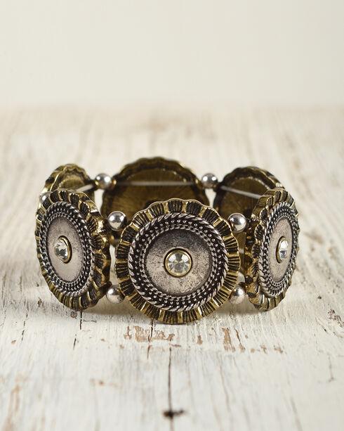 Shyanne Women's Shotgun Shell Concho Stretch Bracelet, Silver, hi-res