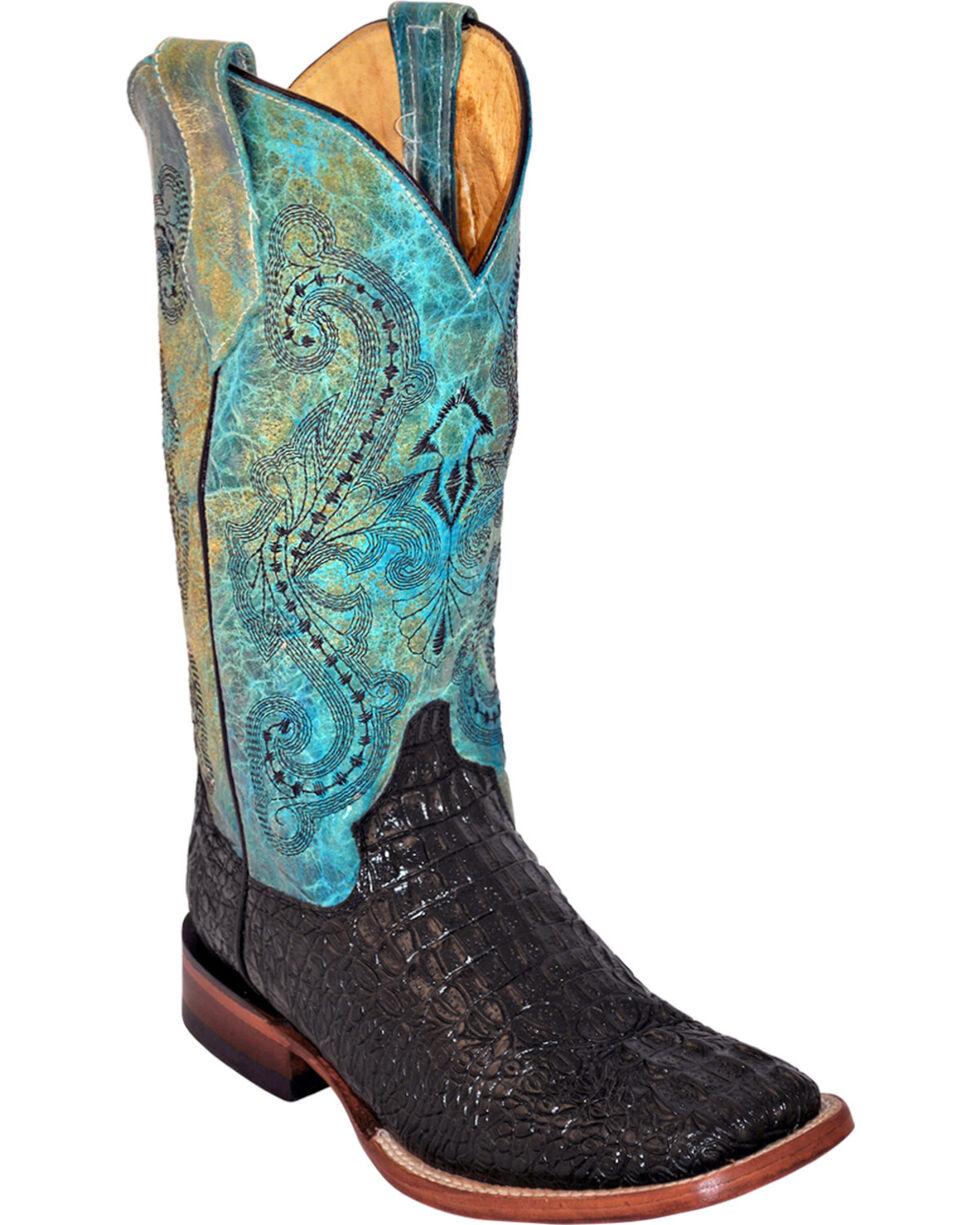 Ferrini Women's Caiman Tail Print Western Boots, Black, hi-res