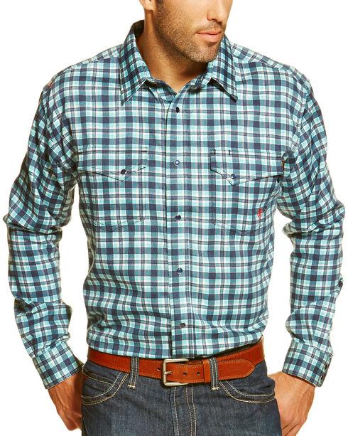 Ariat Men's FR Trenton Plaid Long Sleeve Work Shirt, Multi, hi-res
