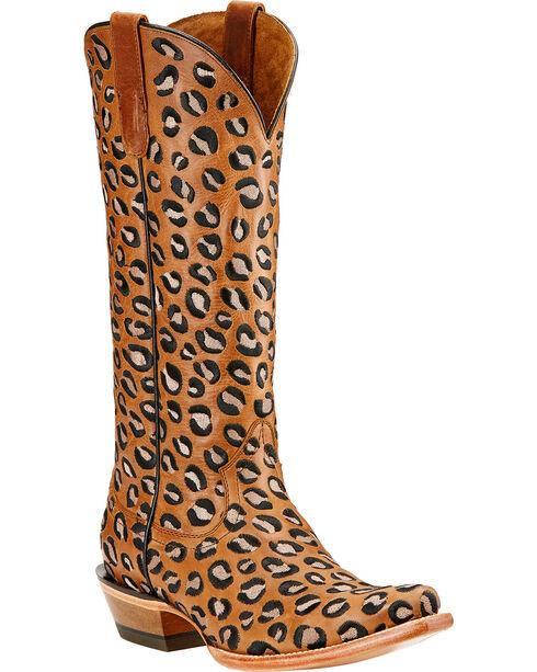 Ariat Women's Leopard Wild Cat Western Boots, Khaki, hi-res