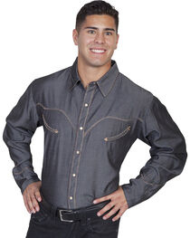 Scully Whip Stitched Denim Retro Western Shirt - Big & Tall, , hi-res