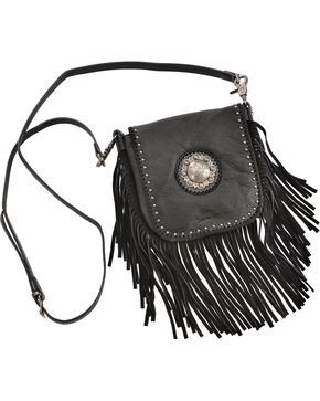 Shyanne® Women's Western Concho Fringe Crossbody Bag, Black, hi-res