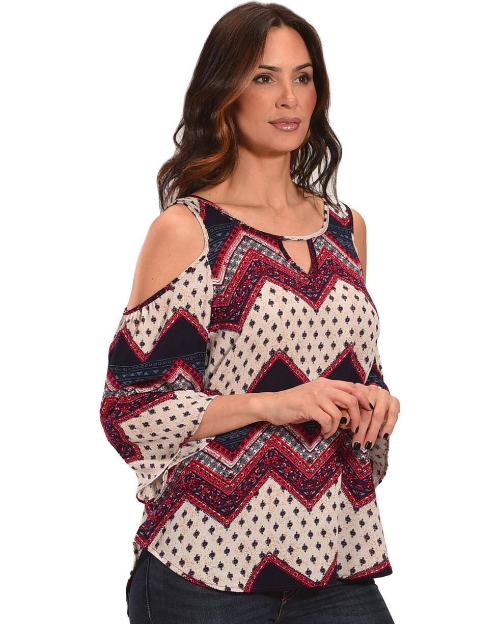 Luna Chix Women's Western Print Cold Shoulder Top, Multi, hi-res