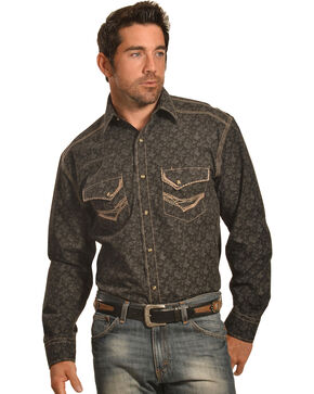 Crazy Cowboy Men's Black Print Western Snap Shirt , Black, hi-res