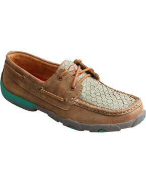 Twisted X Women's Fish Scale Driving Moc Shoes, Brown, hi-res
