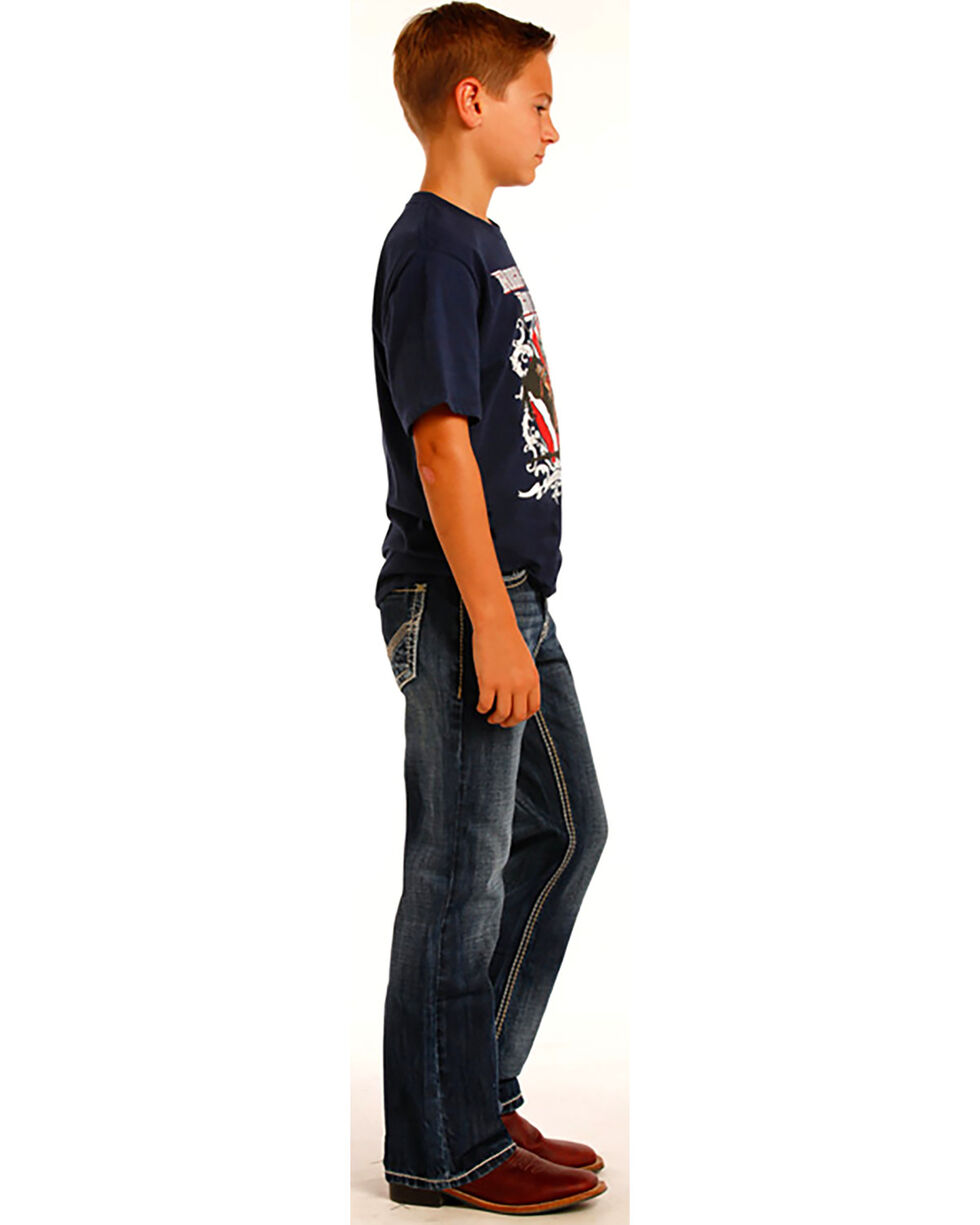 Rock & Roll Cowboy Boys' Large Khaki and Ivory V Embroidery Jeans - Boot Cut, Indigo, hi-res