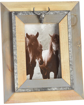 BB Ranch Wood Frame with Cow Skull   , No Color, hi-res