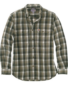 Carhartt Men's Olive Fort Plaid Long-Sleeve Shirt - Tall , Olive, hi-res