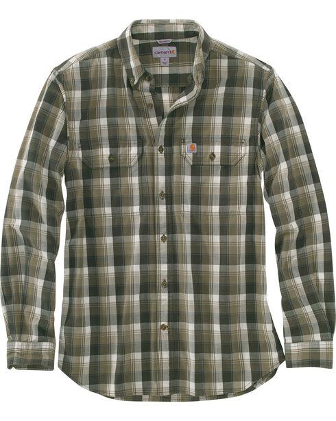 Carhartt Men's Fort Plaid Long-Sleeve Shirt , Olive, hi-res