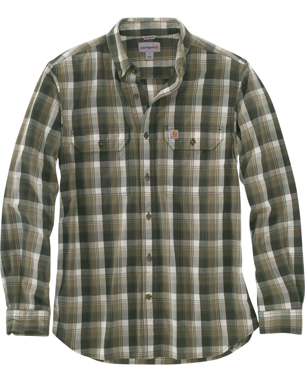 Carhartt Men's Fort Plaid Long-Sleeve Shirt , Olive, hi-res