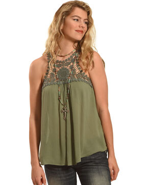 Derek Heart Women's Sleeveless Racerback Tank with Medallion, Olive, hi-res