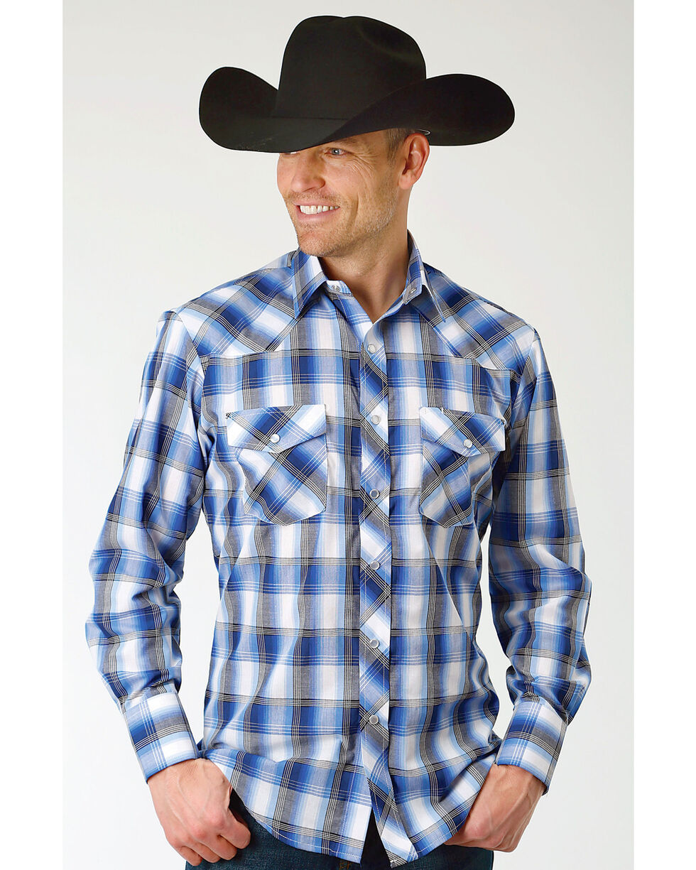 Roper Men's Blue & White Grid Plaid Long Sleeve Snap Shirt, Blue, hi-res