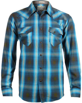 Cody James Men's 8 Seconds Plaid Long Sleeve Shirt, Brown, hi-res