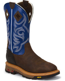 Justin Men's Blue Roughneck Commander X5 Pull-On Work Boots - Broad Square, , hi-res