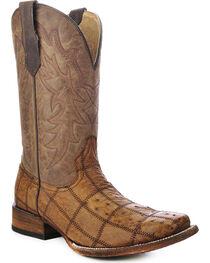 Circle G Men's Ostrich Patchwork Pattern Exotic Boots, , hi-res