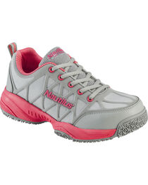 Nautilus Women's Grey and Pink Athletic Work Shoes - Composite Toe , , hi-res