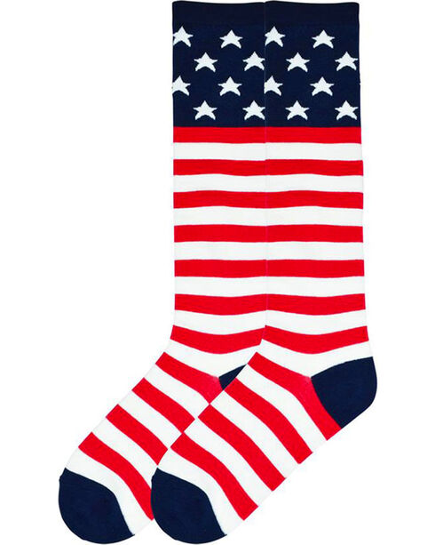 K-Bell Women's Americana Crew Socks, Multi, hi-res