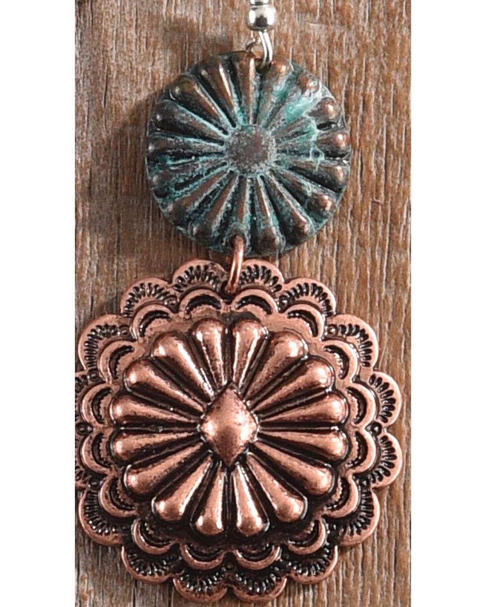 Shyanne Women's Patina Copper Burst Concho Earrings, Rust Copper, hi-res