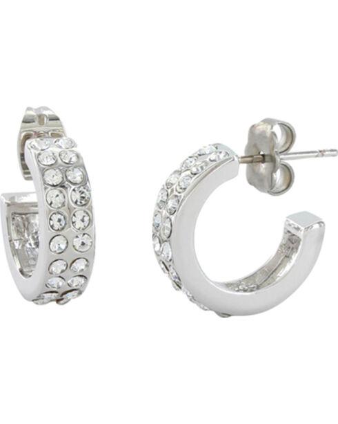 Montana Silversmiths Women's Rhinestone Hoop Earrings, Silver, hi-res