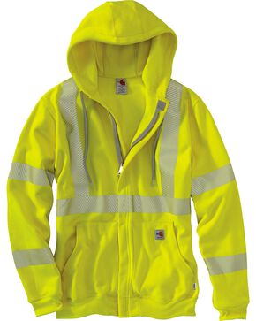 Carhartt Flame Resistant High-Visibility Zip-Front Sweatshirt, Lime, hi-res