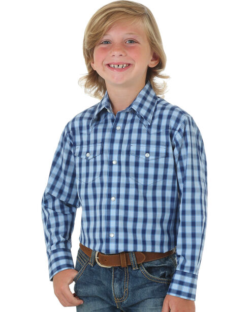 Wrangler Boys' Wrinkle Resist Plaid Long Sleeve Shirt, Blue, hi-res