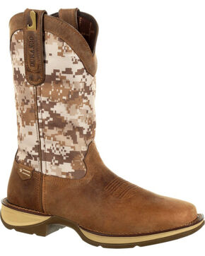 Rebel by Durango Men's Brown Desert Camo Western Boots - Square Toe , Brown, hi-res