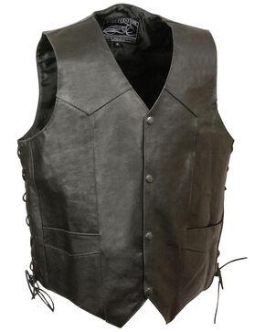 Milwaukee Leather Men's Side Lace Skull & Wings Vest - 4X, Black, hi-res