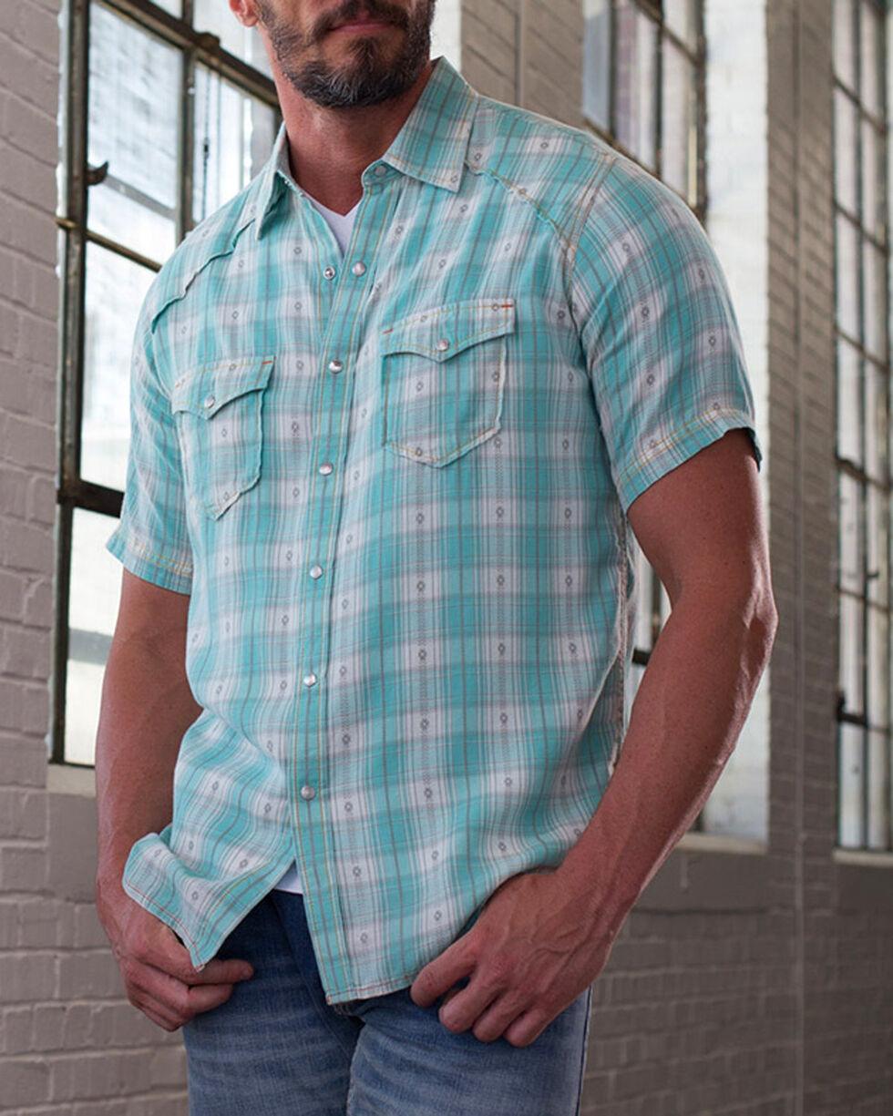 Ryan Michael Men's Seafoam Ombre Plaid Shirt , Light Green, hi-res
