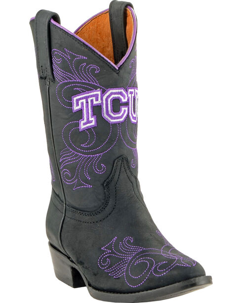 Gameday Boots Girls' Texas Christian University Western Boots - Medium Toe, Black, hi-res