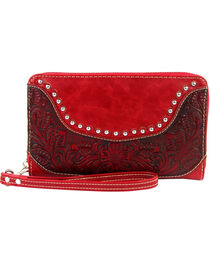 Montana West Tooled Leather Studded Wallet, , hi-res