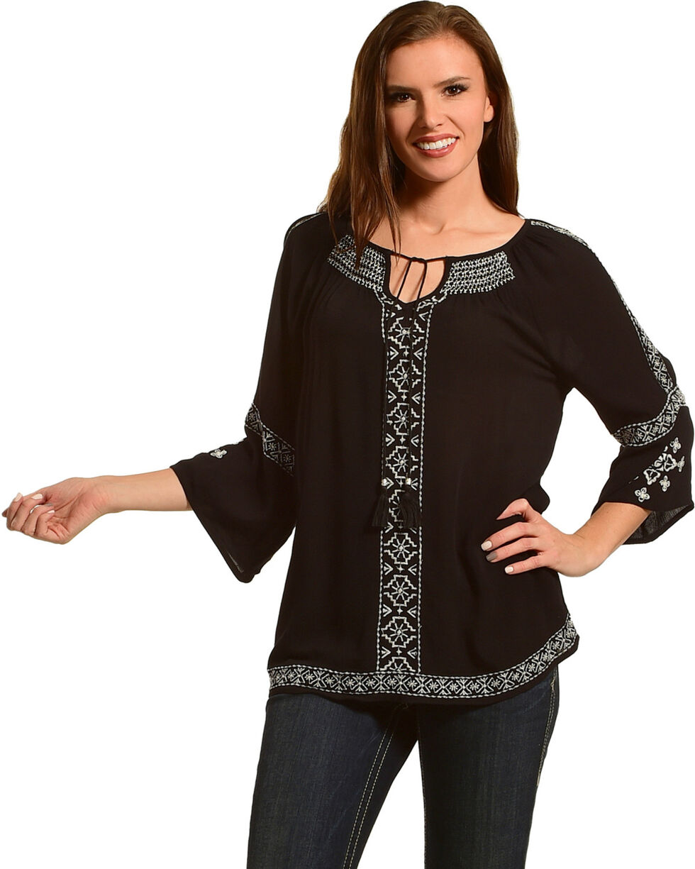 Tanzara Women's Embroidered Peasant Top, Black, hi-res