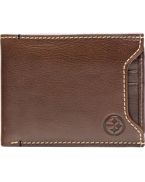Jack Mason Men's Pittsburgh Stadium Sliding 2 in 1 Wallet , Brown, hi-res