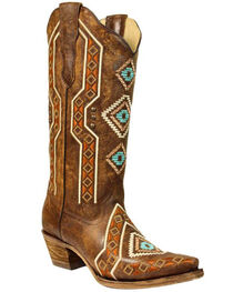 Corral Women's Aztec Embroidered Cowgirl Boots - Snip Toe, , hi-res