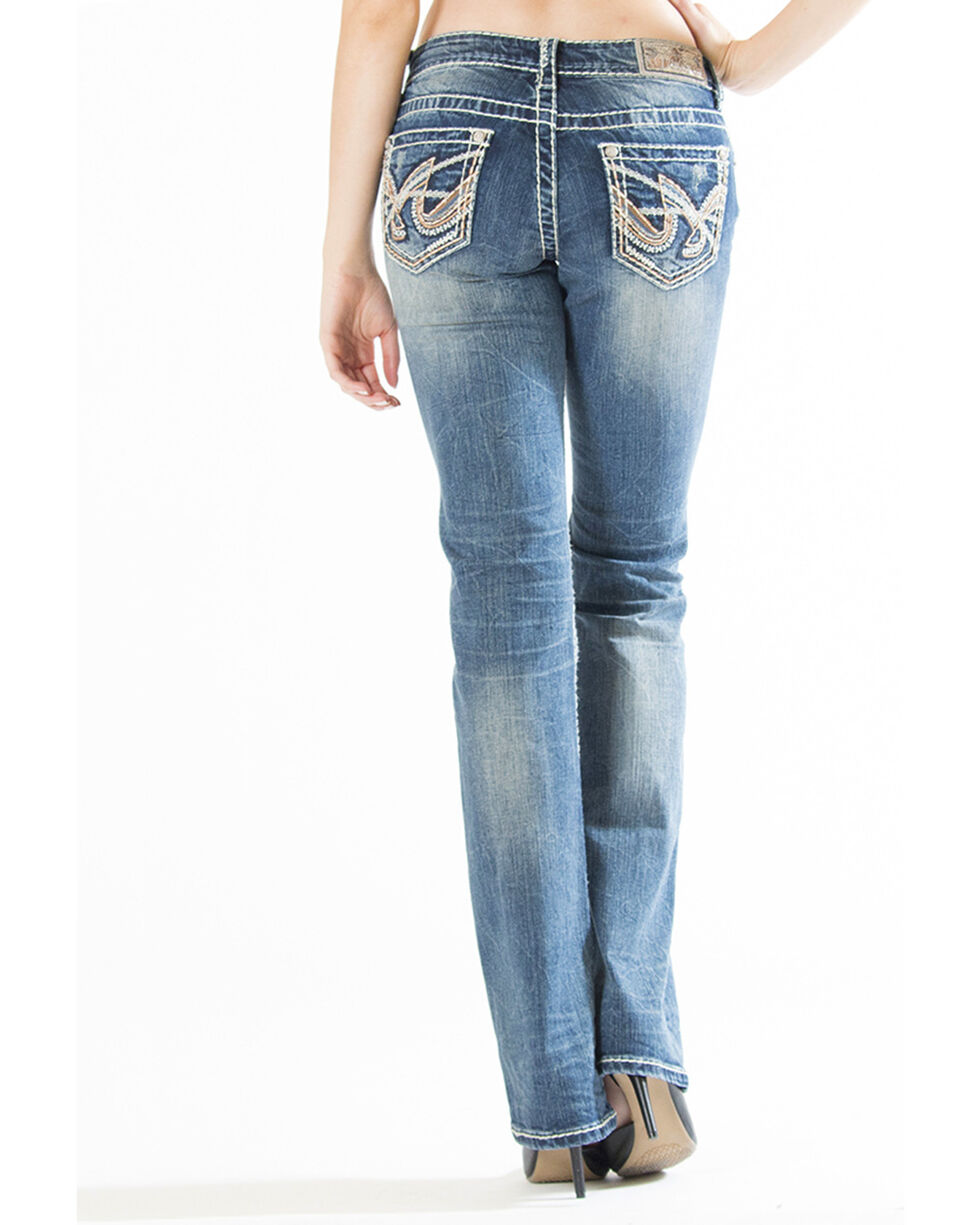 Grace in LA Women's Swish Embroidered Pocket Jeans - Boot Cut, Indigo, hi-res