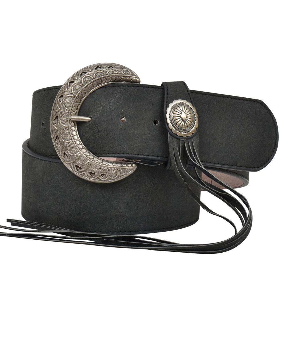Angel Ranch Women's Wide Fringe Concho Fashion Belt, Black, hi-res