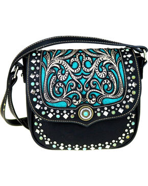 Montana West Women's Boot Scroll Turquoise Concho Crossbody Bag, Black, hi-res