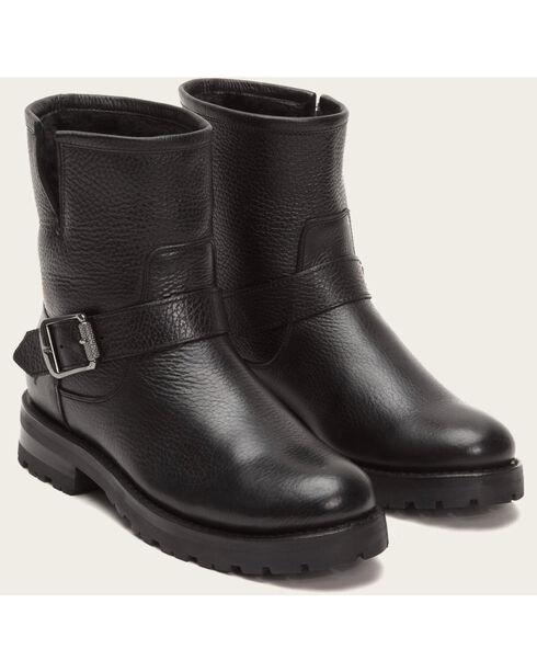 Frye Women's Black Natalie Short Engineer Lug Shearling Boots, Black, hi-res